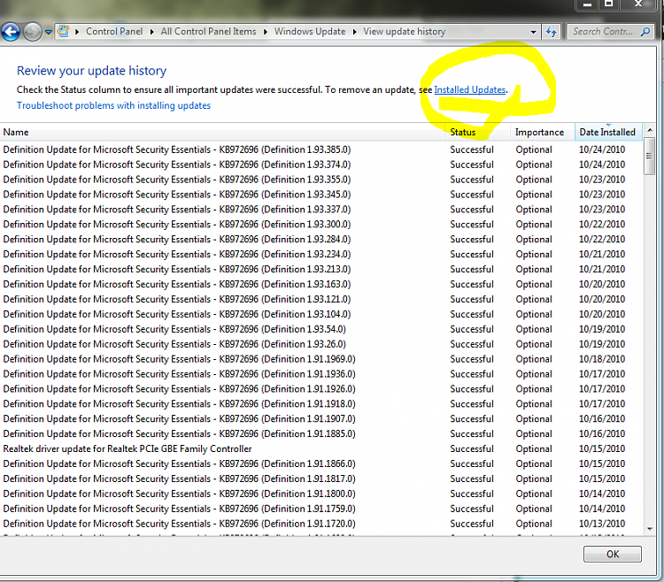 Windows 7 SP1 Install Fail 0x8007000e-installed-updates.png
