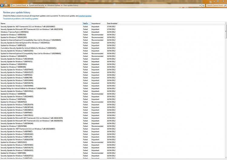 Win7 32x, format & reload, win updates 60% failing (50+
