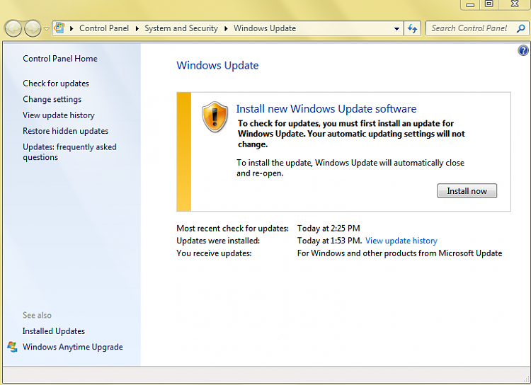 Windows update not updating Windows update agent - Windows 7