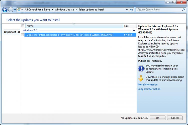 Windows Update, important update n