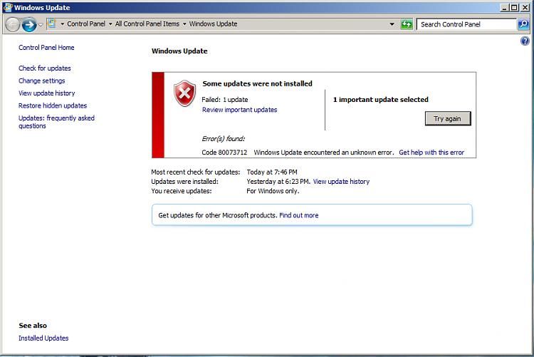 Windows Update Error Code 80073712 (kb976932) SP 1-failedupdate.png