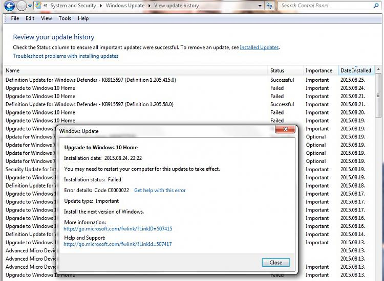 Upgrade to Windows 10 Home Failed-c0000022.jpg
