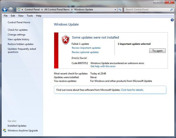 Cannot install update kb3072630, error 80073712 - Windows 7