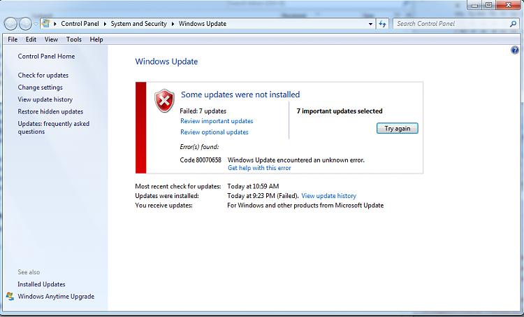 Windows update code 64c error windows updates com